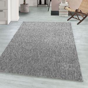Schlingenteppich Kettelteppich Kurzflor Teppich Flachgewebe Meliert hellgrau, Farbe:GRAU,120 cm x 170 cm