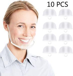 Transparenter offener Mundschutz, 10 Stück Anti Nebel Half Face Visier Mundabdeckung Klarer Gesichtsschutzschild mit elastischen Ohrband