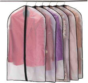 Kleidersäcke, [6 Stück] Transparent Kleiderhülle, mit Reißverschluss, Staubdicht, Mottensicher, Faltbar Waschbar, für Aufbewahrung Anzug, Kleid, Daunenjacke
