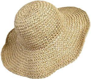 Stroh Sommerhut für Damen mit Groß Sonnen Shade schlaffer Strand Sonnenhut Breite Krempe Faltbar für Reise Urlaub Dekoration 100% Raffia Papier