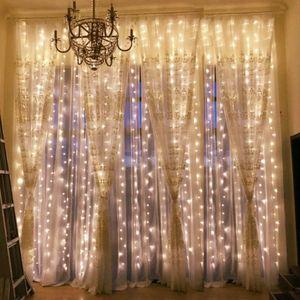 LED Eisregen Lichterkette warmweiß Weihnachten Lichtervorhang Beleuchtung Lichterkette Weihnachtsbaum 3x3m