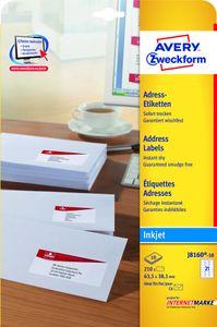 Avery Zweckform J8160-10 Adress-Etiketten, 63,5 x 38,1 mm, Geeignet für Deutsche Post INTERNETMARKE, 10 Blatt/210 Etiketten, weiß
