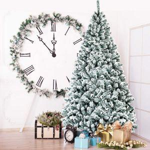 COSTWAY 225cm Künstlicher Weihnachtsbaum mit Schnee, Tannenbaum mit Metallständer, Christbaum PVC Nadeln, Kunstbaum Weihnachten Klappsystem ideal für Zuhause, Büro, Geschäfte und Hotels