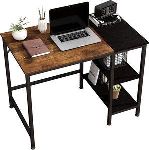 Computertisch mit Doppelschubladen, Regalen, Arbeitstisch,100 x 60 cm,Eiche Vintage Finish