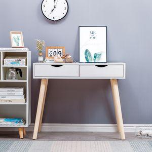 Schreibtisch mit 2 Schubladen 90x45x77cm Computertisch Arbeitstisch Schminktisch weiß