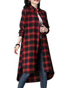Kariertes langes Cardigan-Hemd mit Knopfleiste im Damenstil lockeres Oberteil mit V-Ausschnitt,Farbe: Rot,Größe:M