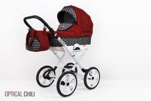 PolBaby Kombikinderwagen Rosso, 3 in 1 - Set Wanne Buggy Babyschale Autositz-Optical Chili