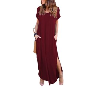 Damen super langes Plus Size Taschenkleid Bohemienkleid,Farbe: Rotwein,Größe:M