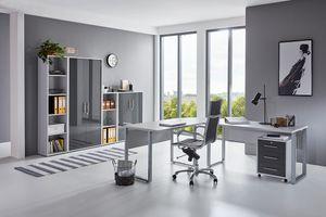 Arbeitszimmer TABOR PRO 4 in Lichtgrau / Anthrazit Hochglanz