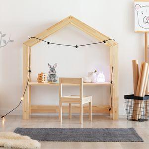 Selsey Kinderschreibtisch JAFARI – Schreibtisch in Hausform aus Kiefernholz höhenverstellbar 117x111x40 cm
