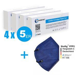 20x Clungene® Antigen Schnelltests Laientest für zu Hause zugelassen von BfArM Selbsttest    +1 Stolfig® FFP2 Schutzmaske