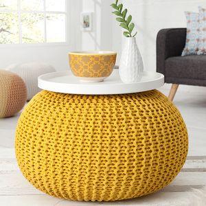 Design Strick Pouf LEEDS gelb 50cm Hocker Baumwolle in Handarbeit Sitzkissen Fußhocker Sitzpouf