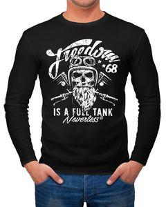 Herren Long-Sleeve Biker Motorrad Motiv Freedom is a full Tank Skull Totenkopf Langarm-Shirt Neverless®  M
