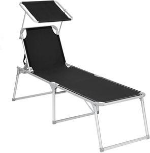 SONGMICS klappbare Sonnenliege, 65 x 200 x 48 cm, bis 150 kg belastbar, Liegestuhl, Gartenliege, extra groß, mit Sonnendach, Rückenlehne verstellbar, klappbar, schwarz GCB26BK