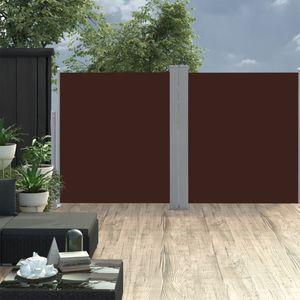 170 x 600 cm Ausziehbare Seitenmarkise Doppelt Sonnenschutz Windschutz für Balkon Terrasse Garten Braun