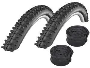 Velo.Set 2 x Schwalbe Smart Sam Fahrrad Reifen // 57-559 (26×2,25') + Schläuche, Variante:SV-Schläuche (Schwalbe), Ausführung:Schwarz