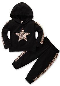2 Stück Kleinkind Baby Mädchen Outfits Leopard Print Langarm Kapuzenpullover+Hose Trainingsanzug 3-4 Jahre (98/104) Farbe: Schwarz