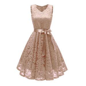 y Elegante Frauen Spitze Hallow Out Kleid aermellose V-Ausschnitt Guertel Suesse Prinzessin Party Abendkleid (L)