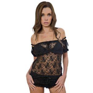 Burleska Top aus Spitze - Gypsy Schwarz XL