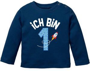 Baby Langarm-Shirt 1. Geburtstag Geburtstagsshirt Ich bin 1 Zahl Alter Baumwolle Junge/Mädchen MoonWorks® blau 56/62 (1-3 Monate)