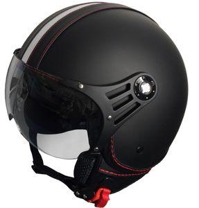 Jethelm P01 Retro Helm Motorradhelm Rollerhelm Sturzhelm Gr. XL matt schwarz Visier klar