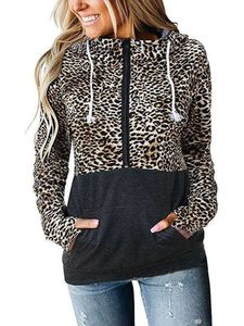 FrauenReißverschluss Hooded Sweatshirt Top Camouflage Pullover,Farbe: Leopardenmuster,Größe:S