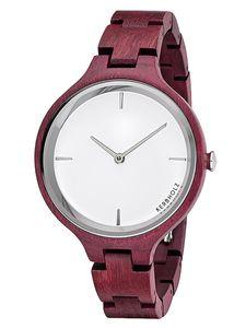 Kerbholz Hinze Purpur Silber Damen Holz-Armbanduhr