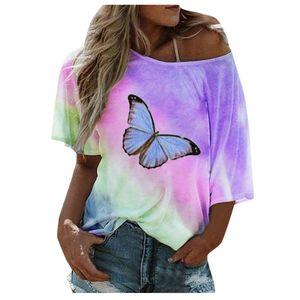 Frauen Plus Size One Schulter BohoTie-Dye Schmetterling Print T-Shirt Top Loose Bluse Größe:XXXL,Farbe:Lila