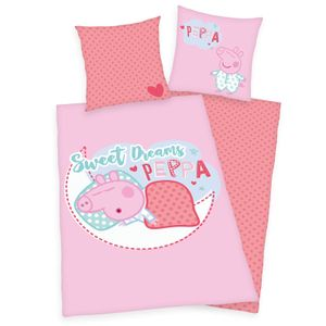 """""""Peppa Pig"""" Bettwäsche, 100% Baumwolle ( Linon ), 80x80 cm + 135x200 cm"""