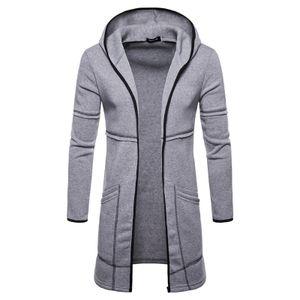 Lässige Strickjacke für Herren warme lange Strickjacke mit Kapuze und Kapuze,Farbe: Grau,Größe:L