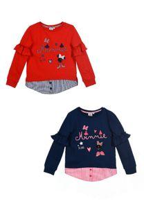 Disney Minnie Mouse Sweat-Shirt Langarm-Shirt mit Rüschen an den Ärmeln, Farbe:Rot, Größe:128