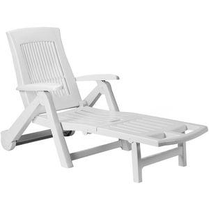 Sonnenliege Zircone Kunststoff Rollen verstellbare Rückenlehne klappbar Gartenliege Rollliege Liegestuhl , Farbe:weiß