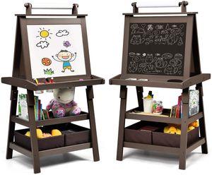 COSTWAY 3 in 1 Kinder Staffelei, Kindertafel doppelseitig, Whiteboard & Kreidetafel & Zeichenpapier, Standtafel inkl. Magneten, 2 Regalebenen Holztafel mit 2 Aufbewahrungsboxen Kaffee