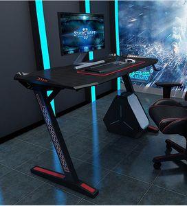 YULUKIA 100033 Z-förmiger PC-Computer-Gaming-Schreibtisch ohne LED-Beleuchtung, Gamer Tables Pro mit Getränkehalter und Kopfhörerhaken