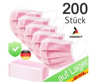 200x 3 lagig Einweg Atemschutz Maske  Mundschutz Gesichtsmaske Rosa