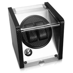 Navaris Uhrenbeweger Uhrendreher für 2 Automatikuhren - 17,5 x 18 x 18 cm - handgefertigte Uhrenbox mit Netzteil - Box aus Edelstahl und Carbon