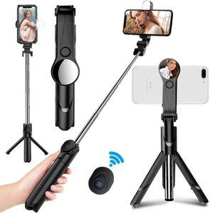 Bluetooth Selfie-Stick Stativ mit Fernbedienung+Fülllicht, Multi-Angle-Rotation für iPhone Android Samsung 3,5-6 Zoll Smartphones