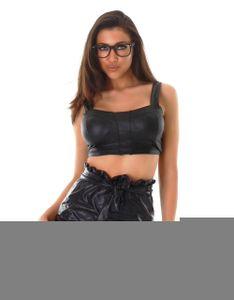 Kunstleder Paperbag Minirock im High Waist-Style mit Gürtel, Farbe: Schwarz, Größe: M