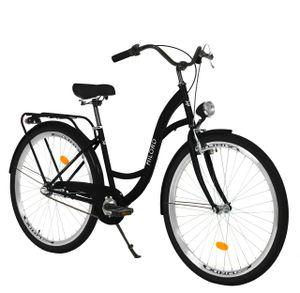 Milord Komfort Stadtfahrrad Fahrrad City Damenfahrrad, 28 Zoll, Schwarz, 3-Gang