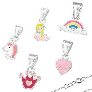 Kinderkette 925 Silber Kette: Glitzer Anhänger Halskette für Mädchen, Modell:Herz (Heart)