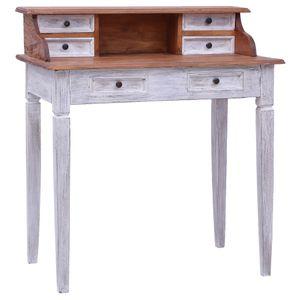 vidaXL Schreibtisch mit Schubladen 90x50x101 cm Altholz Massiv