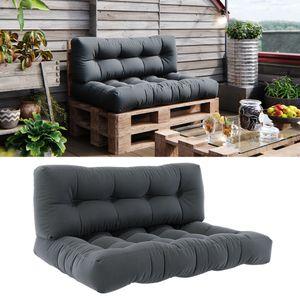 Vicco Palettenkissen Set Sitzkissen + Rückenkissen 15cm hoch Palettenmöbel Flocke anthrazit