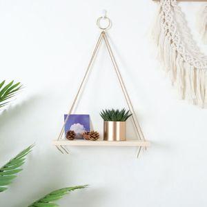 Hängen Regale Wand Montiert Holz Regale mit RingsHook Leicht und Langlebig Bauernhaus Seil Regale für Badezimmer Küche jekte Farbe Wald