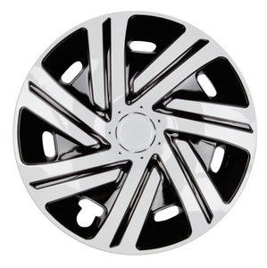4x PREMIUM Radkappen Modell: Cyrkon in Schwarz-Weiß, Größe:16 Zoll