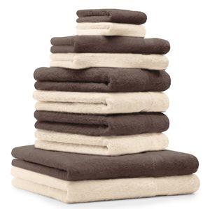 Betz 10er Handtuch-Set PREMIUM 2 Duschtücher 4 Handtücher 2 Gästetücher 2 Waschhandschuhe, Farbe nussbraun und beige