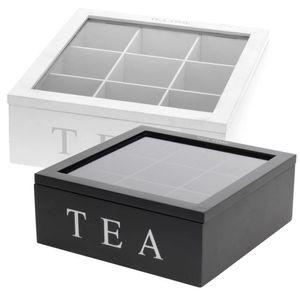 Holz Teebox TEA, 9 Fächer, Farbe wählen:schwarz