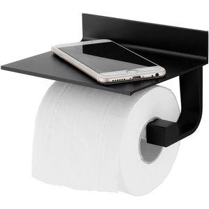 Toilettenpapierhalter ohne Bohren, Patentierter Kleber + Selbstklebender Kleber, Aluminium, Matte Finish, Schwarz