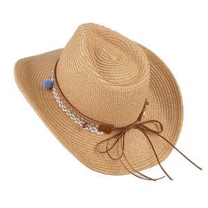 Verstellbarer Strand Sonnenhut für Frauen Fedora Trilby Cap Straw  Breitkrempenhut Leicht gebräunt