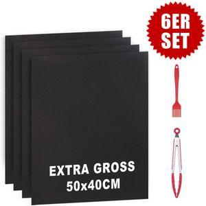Grillmatte, 6er Set BBQ Grillmatten Extra Groß (40x50 cm), Antihaft Grill-und Backmatte 50X40CM