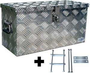Truckbox D040 + inkl. Montagesatz MON2012 Deichselbox, Werkzeugbox, Alu Riffelblech, Transportbox, Alu Transportkiste, Anhängerkiste - ca. 40 Liter